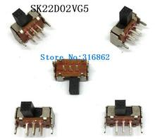 20PCS SK22D02 toggle switch 2P2T 6PINS slide switches Pull ON/OFF handle length 4mm good quanlity SK22D02VG5