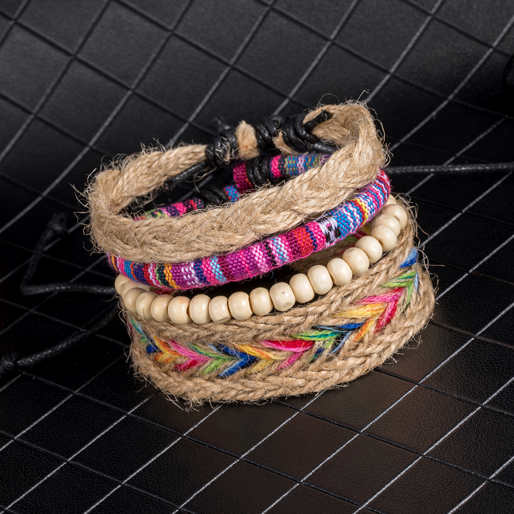 IPARAM 4PCS / Set color ethnic handmade hemp woven bracelet hippie Bohemian embroidery cotton friendship bracelet 7