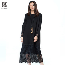Outline Autumn Black Dresses Solid Lace Hollow Out Patchwork Loose O-neck Full Sleeve Dress Women Casual Long Vestidos L163Y004