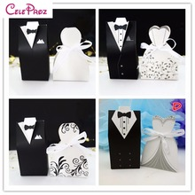 100Pcs Bride and Groom tuxedo dress gown Wedding Favor Candy Gift box(China)