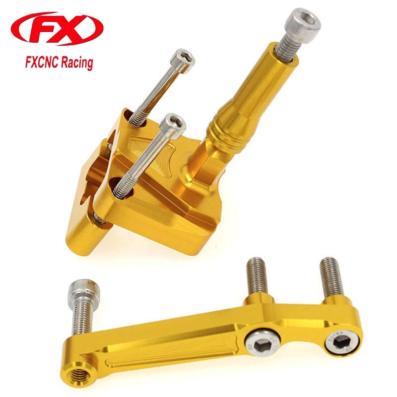 FX CNC Aluminum Adjustable Steering Stabilize Motorcycle Damper Bracket Mount Kit Fit for KAWASAKI NINJA 250R EX250 2008-2012 <br>