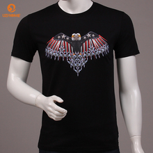 High Quality 100% Cotton T-shirt Men American Summer Breathable Homme Black White Plus Size Fashion Eagle Print Short Sleeve Tee