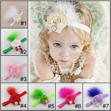 feather headband flower newborn kids girl elastic for hair bands ribbon head band wraps headbands accessories hairband headdress