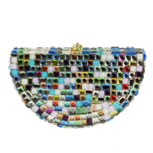 Multi Color Watermelon Crystal Clutch Bags with Strap for Ladies Purse Designer Inspired Handbags Beaded Cheap Clutch for Less(China)