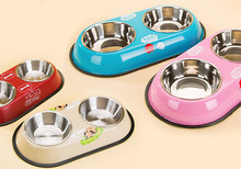 Four Colors Pet Cat Puppy Dog Bowel Food Dish Water Feeder Stainless Steel Double Bowels High Grade Anti-skid Pet Bowel