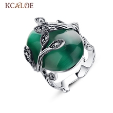 China Bisuteria Sterling-Silver-Jewelry Vintage Retro Austrian Crystal Agate Jade Big Rings For Women Natura  Stone Ring