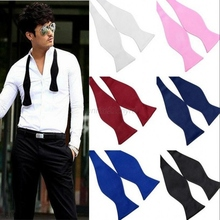 Top Fashion Solid Color Mens Bowties Plain Silk Self Tie Bow Ties 8 colors(China)