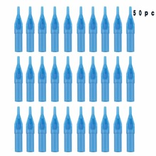 50pcs Sterile Plastic Flat Round  Tattoo Blue Tube  Tips  for Tattoo Guns Inks Supplies 3RT