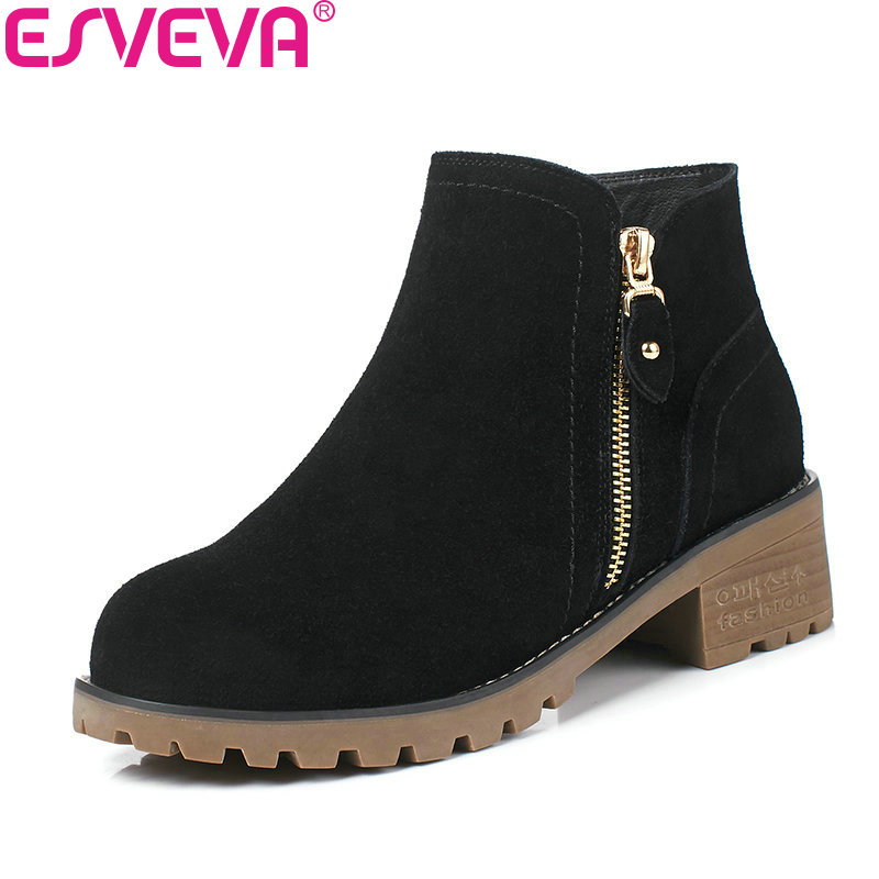ESVEVA 2018 Women Boots Solid Square Med Heel PU/ Warm Fur Cow Suede Round Toe Ankle Boots Handmade Boots for Women Size 34-40<br>