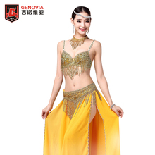 2017 Stage Performance Luxury Belly Dance 3 Pcs Costume Bra&belt&necklace 34b/c 36b/c 38b/c Gold&silver 2 Colours(China)