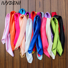 60 New Solid Color Imitation Designer Silk Scarf Square Women Hijabs Satin Neck Gaiter Cozy Head Scarf Foulard Femme Girls Pink