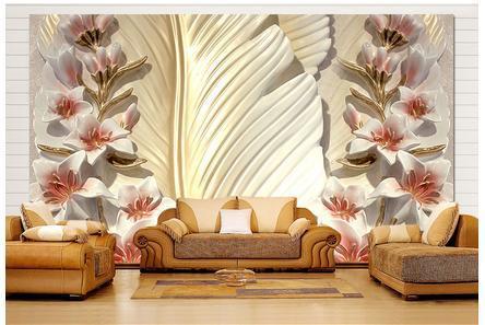 Custom 3d wallpaper Feather flowers anaglyph 3 d TV wall wallpaper<br><br>Aliexpress