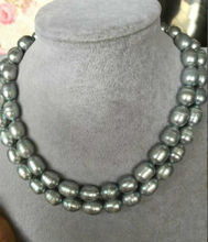 "100% Selling Picture full double strands 10-11mm SOUTH SEA BAROQUE GREY PEARL NECKLACE 18""19"""