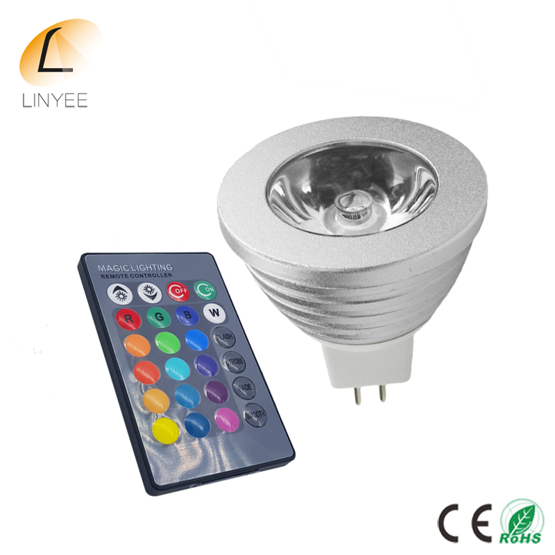 2pcs MR16 5W spotlight RGB lamp led 12V dimmable light spot bulb bombilla with 24key IR Remote-controlled Spotlight Colorful(China)