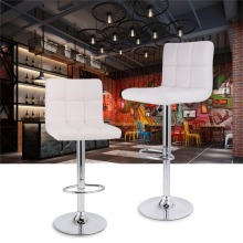 White Height Adjustable Swivel Quilted Faux Leather Bar Stools Chairs with Chromed Base and Footrest for Bar Counter Office