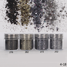 1 Box Ash Black Color Nail Glitter Dust Fine Mix 3D Nail Sequins Acrylic Glitter Powder Large Nail Art Tips Decoration 10ml