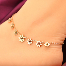 VOGUESS Sunflower Anklet Rose Gold Titanium Steel Anklet Bracelet Foot Jewelry Fashion Leg Chain for Women Summer Jewelry(China)