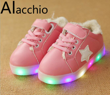 Children's Casual Shoes LED  Lighted Hook Loop  2-7 Years  Rubber Soles Star Pattern Increase Waterproof Anti-Skid Cushioning