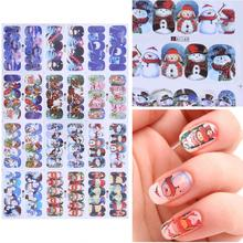 12 design Christmas water transfer nail art stickers decals nails decorations manicure tools Santa Claus snowman(China)