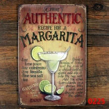A true authentic recipe for a margarita!  vintage sign retro metal tin signs iron plate painting decor the wall of bar cafe club