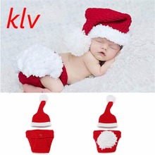 Christmas Cute Baby Boys Girls Knit Hat Santa Outfits Infant Baby Wool Crochet Costume Photo Prop(China)