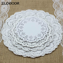 "ZLDECOR 4.5""&5.5""6.5""&8.5""Mixed Sizes Round Lace Flower Paper Doilies Placemat Crafts for Wedding Party Decoration Supplies(China)"