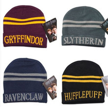 "Hat Cap ""Hary Poter"" Gryffindor Wright Raven Krishna Pachy College Letter Hat kullies Knitted Hat AdultWoolen Wild Solid Color(China)"