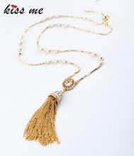 KISS ME New Styles KISS ME Fashion Jewelry Elegant Imitation Pearls Tassel Necklace Christmas Gifts(China)