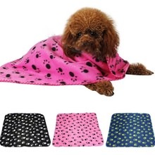 Lovely Design Pet Clothing Pet Dog Cat Paw Printed Fleece Cozy Couture Blanket Mat(China)