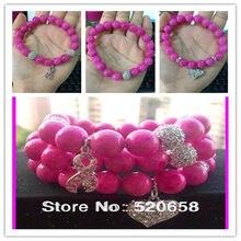15pcs fashion pink Glass round beads bracelet rhinestone breast cancer sign  and heart pendant women charm bracelet 3c938f5d827b