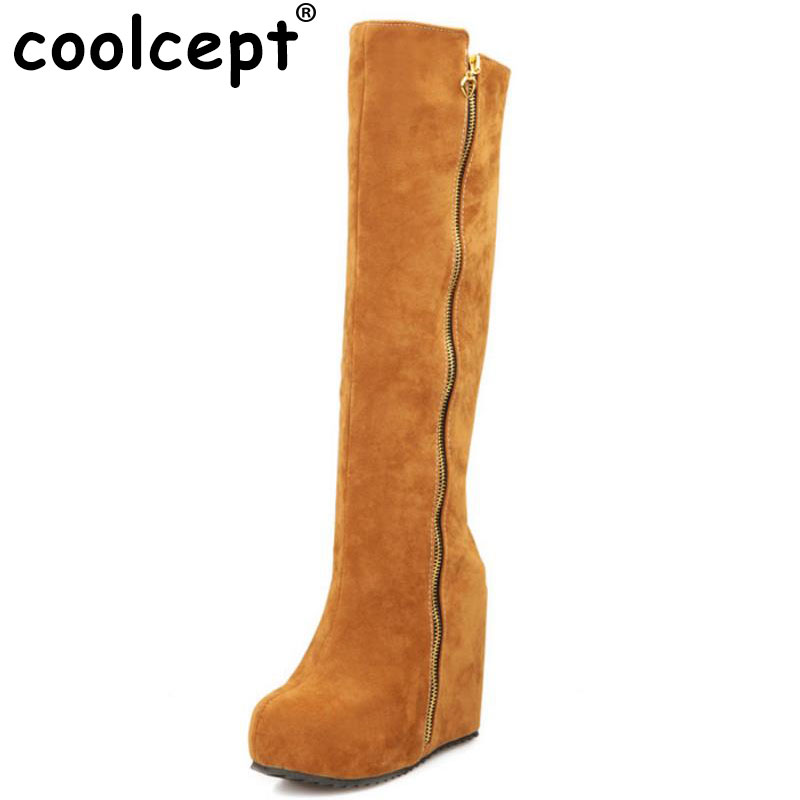 Coolcept women platform over knee boots martin snow boot warm winter botas masculina footwear heel shoes P19640 size 32-43<br>