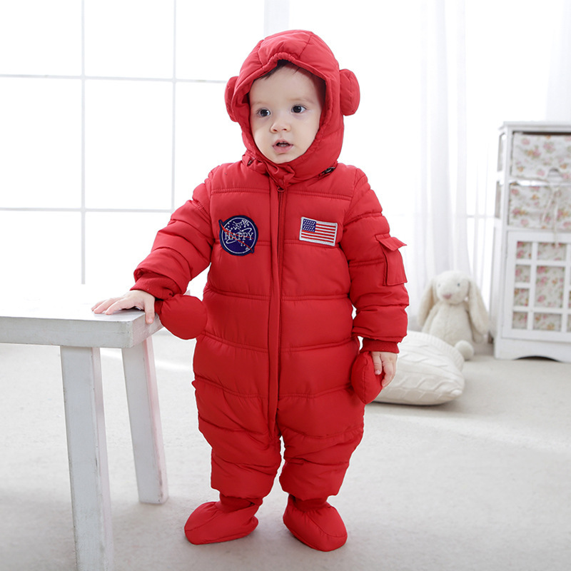 New Winter Baby Rompers Baby Girl Thermal Cotton Winter Snowsuit Baby Cute Hooded Jumpsuit Newborn Baby Boy Clothes Ski Suit<br>