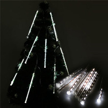 Romantic Rain Drop 50CM 8 Tubes 240LED white String Light Meteor Shower Falling Star For Home Christmas Tree Party Fairy