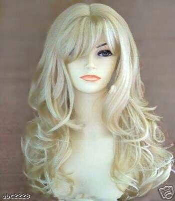 Bouncy Long Wavy Blonde 21 Inches KANEKLON Synthetic Hair Wigs(Free Shipping) 10pcs/lot<br><br>Aliexpress