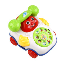 Baby Kids Children Wired Music Smiling Face Cartoon Phone Educational Toys(China)