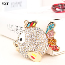 Fat Fish Big Head animal Lovely Pendant Charm Rhinestone Crystal Purse Bag Keyring Car Key Chain Women Apparel & Accessories
