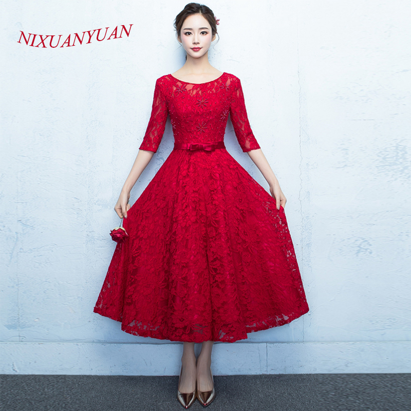 NIXUANYUAN 2017 Real Photo Ankle Length Formal Gowns Red Lace Evening Dress 2017 O Neck Half Sleeves vestidos de noite With Bow