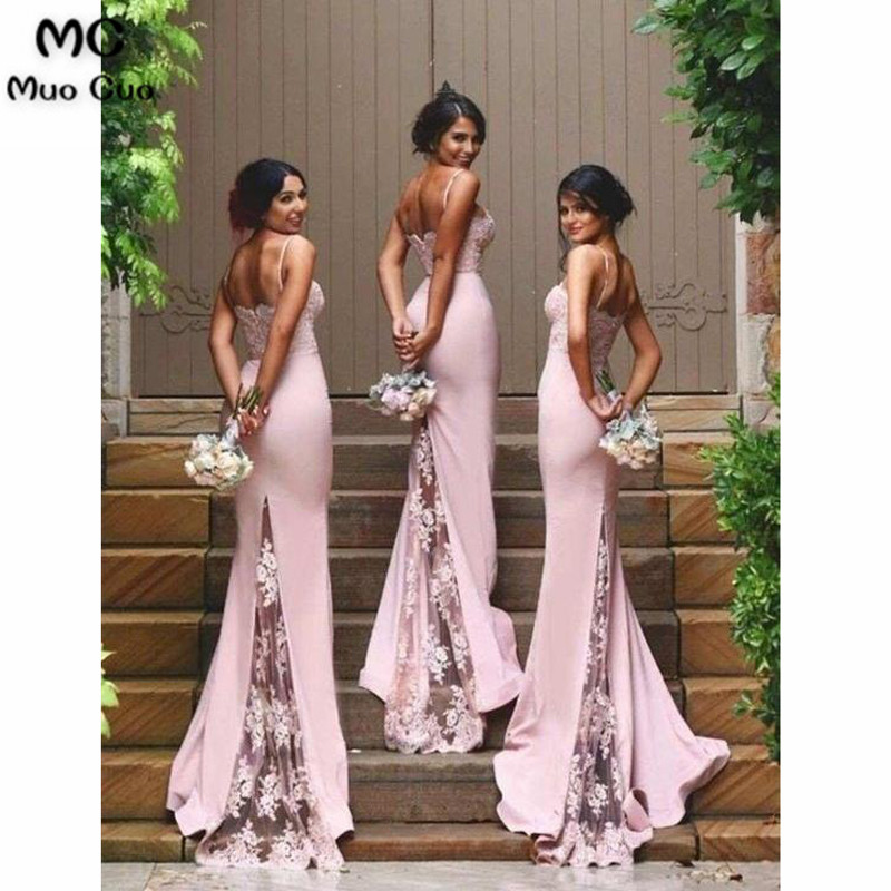 Spaghetti Strap Mermaid Bridesmaid Dresses Sexy Lace Bridesmaid Dresses