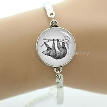 Retro vintage sloth bracelet charm pencil art style picture resin glass dome metal men jewelry geeky & boyfriends gift -1308