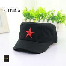 VEITHDIA Army Men Women Embroidery Design Cotton Unisex Trucker Hats For Men Flat Top Caps JX-XB50