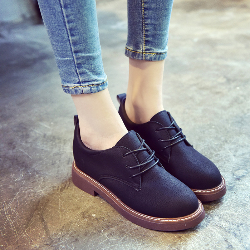 Women Martin Boots Soft Leather Women Oxford Shoes For Women Brand Black Female Boots Fashion Flat Heels Ankle Boots For Women<br><br>Aliexpress