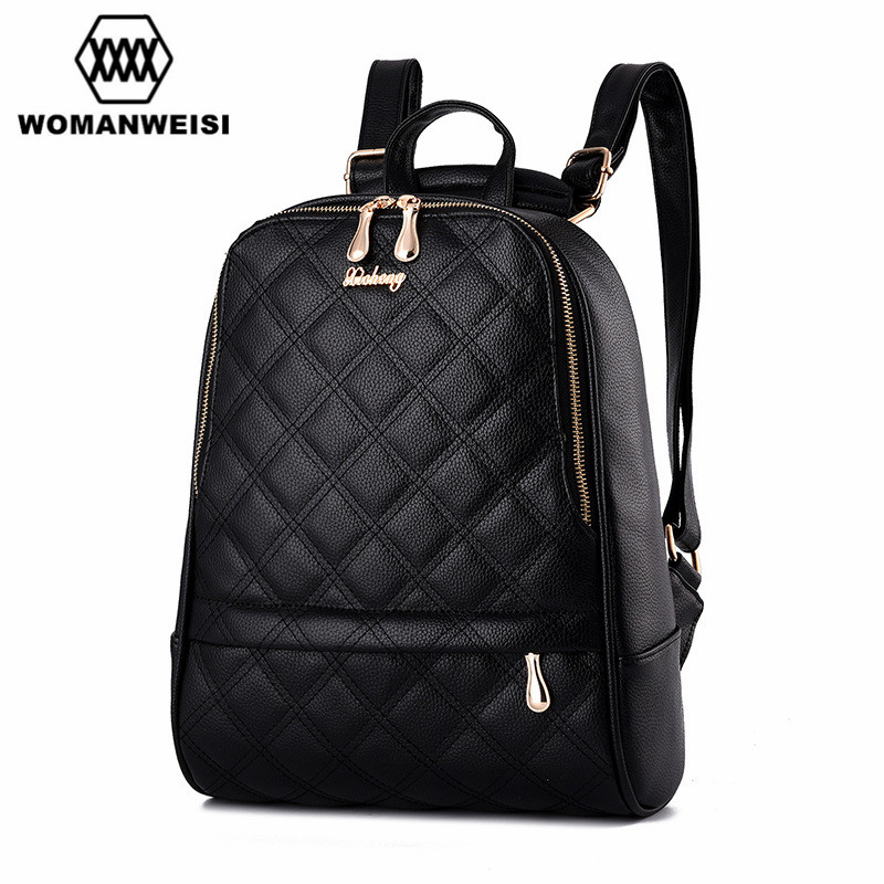 Mochila Feminina Brand New Design Classic Diamond lattice Women Backpacks Preppy Style School Bag Satchel Female Travel Bagpack<br>