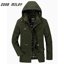 ZOOB MILEY Men Autumn Spring Hooded Coat Hat Detachable COTTON Men Jackets Long Sleeve Military Style Casual Outerwear Plus Size