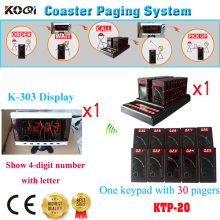 Guest Paging Taking Order System Keypad Coaster Pager Coffee Restaurant Personal Calling Pager(1 display+ 1 keypad +30pcs pages)