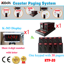 Guest Paging Taking Order System Keypad Coaster Pager Coffee Restaurant Personal Calling Pager(1 display+ 1 keypad +30pcs pages)(China)