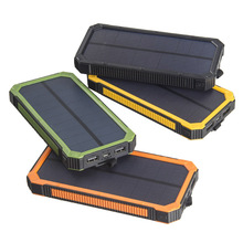 Waterproof Portable 20000mAh Solar Charger Dual USB Solar External Battery Powerbank For iPhone for Samsung Smartphone with LED