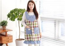 2017 Free shipping korean apron tablier bowknot grid aprons housewife essential supplies delantal kitchen apron