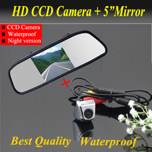 "Promotion 2 in 1  CCD rear view Camera + 5"" HD Car Mirror Monitor rear view mirror monitor CCD car parking camera back up camera"