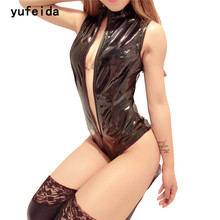 YUFEIDA Hot Sexy Lingerie Exotic Women's Clothing Underwear PVC Teddy Faux Leather Leotard Black Clubwear