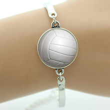TAFREE Brand Fashion pure white beach volleyball image art glass bracelet sports charms Autum golden fallen leaves jewelry T858